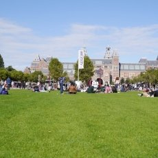 Sitting on the grass at Museumplein
