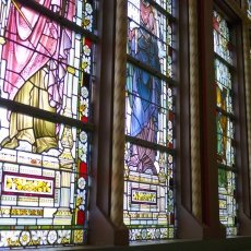Stained glass giving a church-like feel to the museum