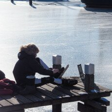 Skating on natural ice in Hoorn 18