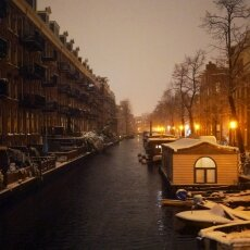 Snowy night in Amsterdam 01