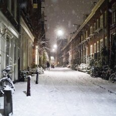 Snowy night in Amsterdam 02