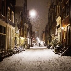 Snowy night in Amsterdam 03