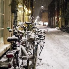 Snowy night in Amsterdam 04