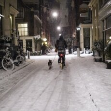 Snowy night in Amsterdam 08
