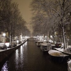 Snowy night in Amsterdam 09