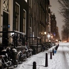 Snowy night in Amsterdam 12