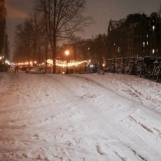 Snowy night in Amsterdam 13