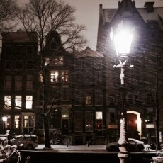 Snowy night in Amsterdam 14