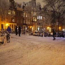 Snowy night in Amsterdam 16