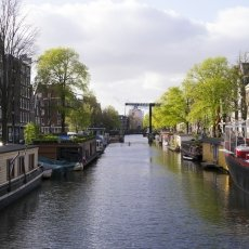 Green Amsterdam canal