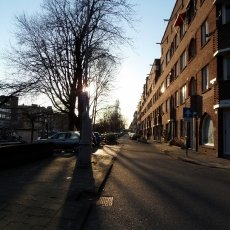 Sunset on a street of the Oud-Zuid