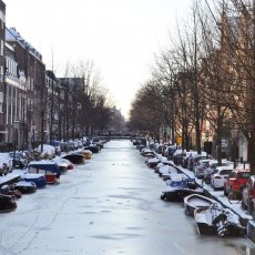 Frozen canal, a rare thing in Amsterdam