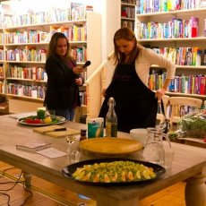 Vicky preparing for a culinary demonstration