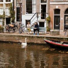 Amsterdam in yellow coat 12
