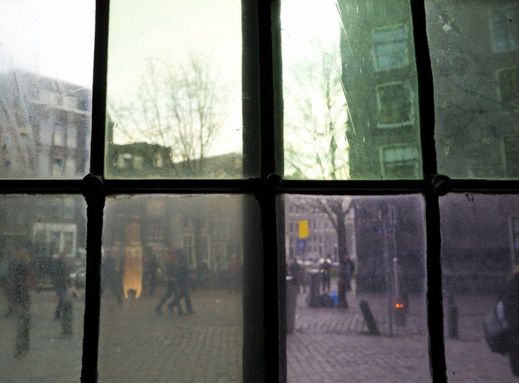 Green and purple Oude Kerk window