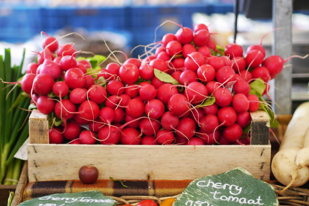 Radishes at the market
