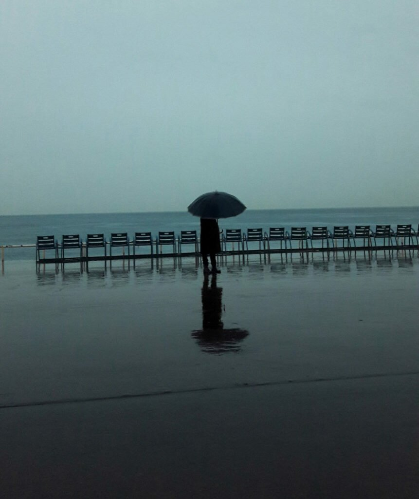 Promenade in Nice on a rainy day