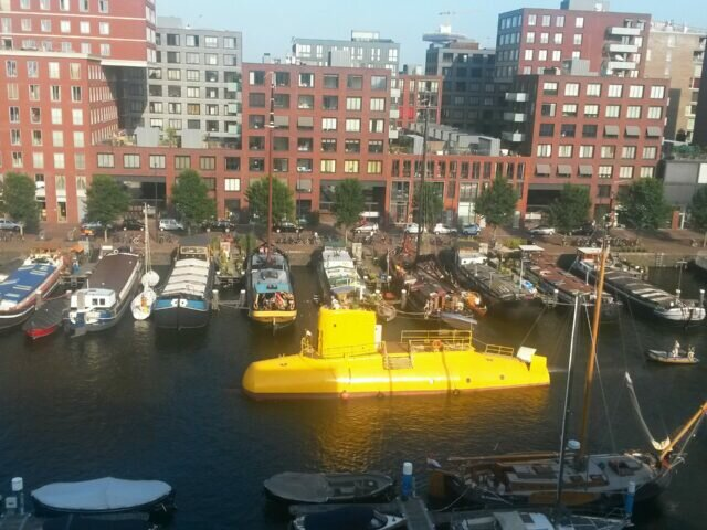 The Yellow Submarine sailing in Amsterdam