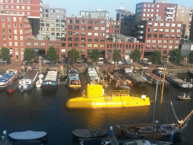 The Yellow Submarine sailing in Amsterdam