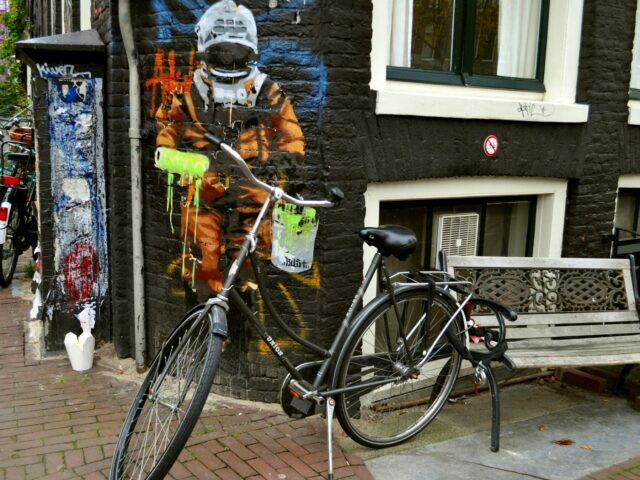 An astronaut on the streets of Amsterdam