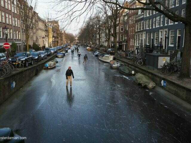Skating on the frozen canals in Amsterdam